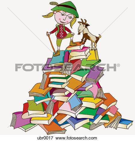 Stock Illustration of girl on a mountain of books ubr0017.