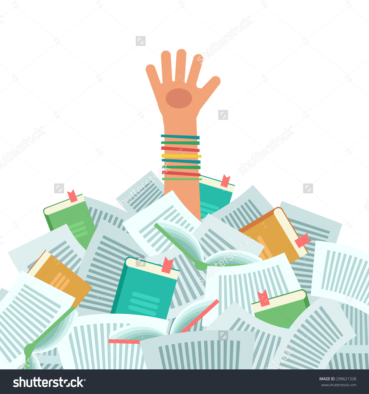 Pile Books Overwhelmed Student Much Study Stock Vector 298621328.