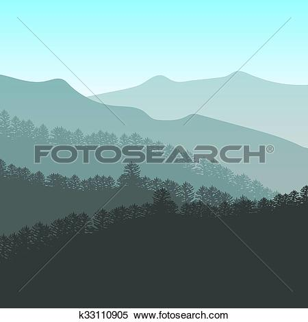 Clipart of Panorama vector illustration of mountain ridges. Peaks.