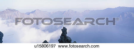 Picture of mountain, panorama, scene, nature, landscape, sky.