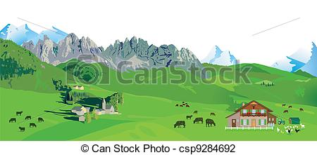 Vector Illustration of Mountain Panorama csp9284692.