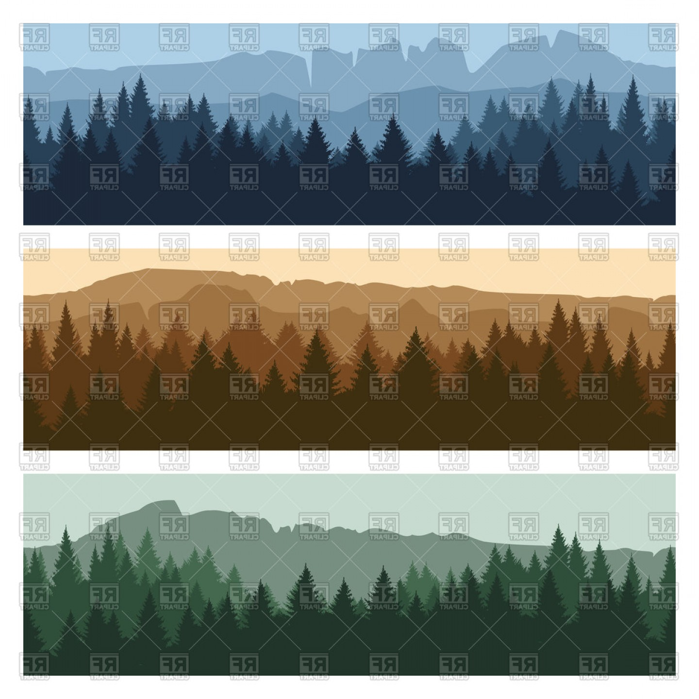 Best Mountain Peaks And Trees Panorama Banners Vector Clipart Draw.