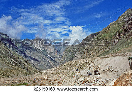 Stock Illustrations of high mountain pass in himalaya mountains.