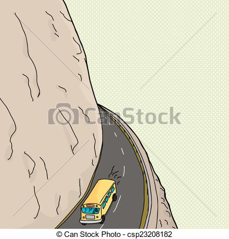 Vector of Bus On Mountain Pass.