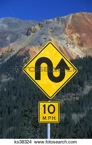 Stock Photo of Silverton Co Switchback Turn Road Sign Red Mountain.