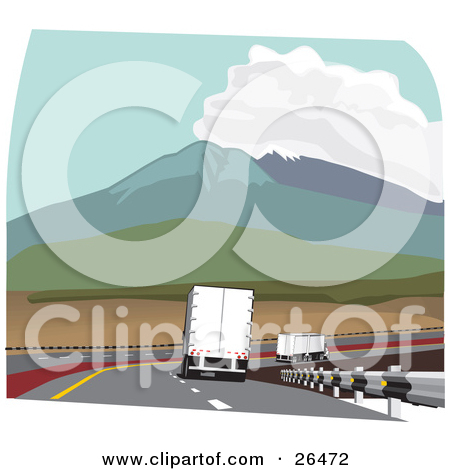 Clipart Illustration of a Big Rig Truck Driving In The Slow Lane.