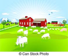 Mountain Pasture Scene Clip Art.