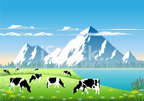 Mountain Pasture stock vectors.
