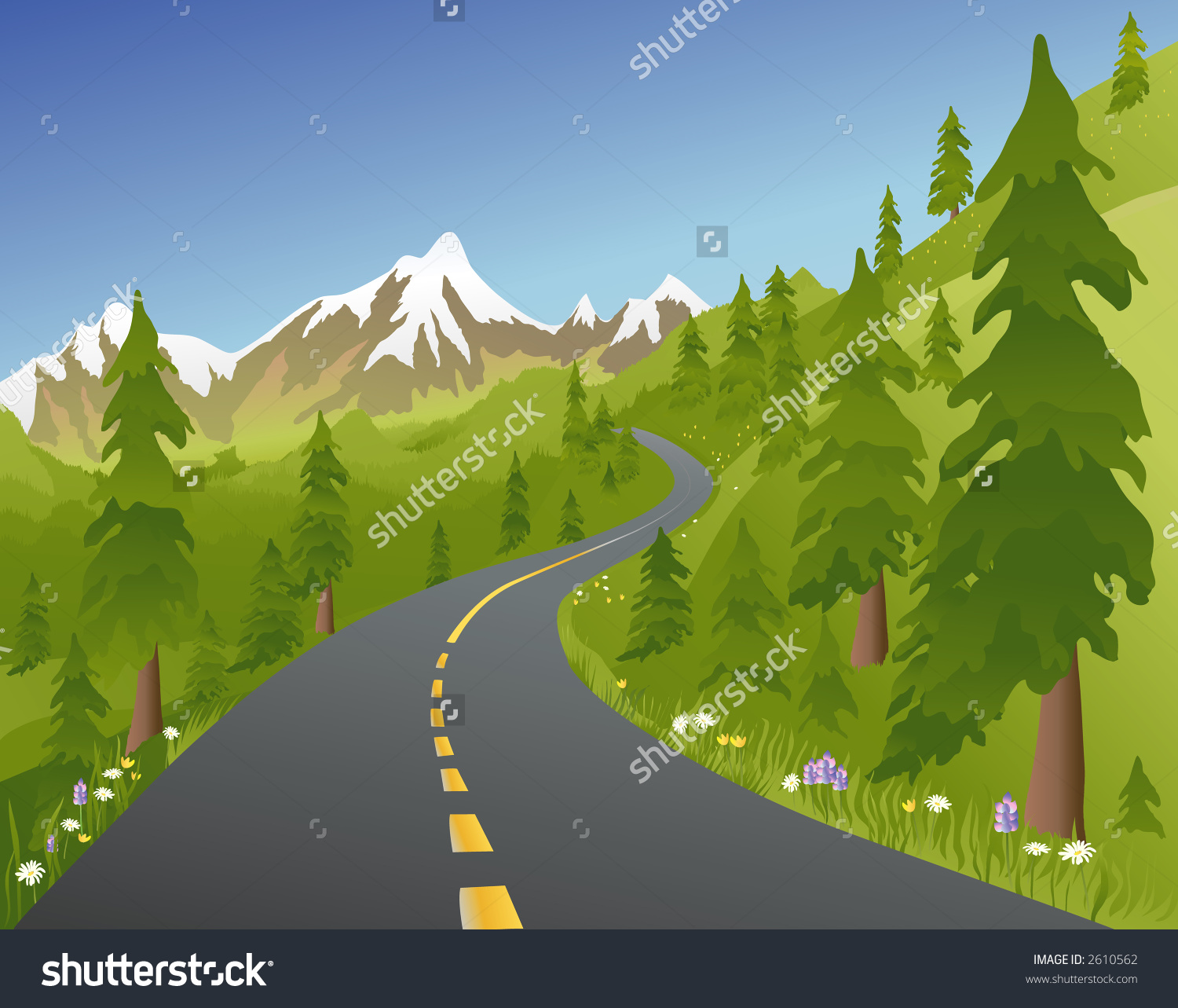 Road mountain clipart.