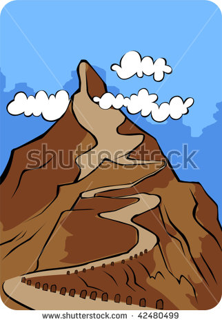 Illustration Cliff High Mountain Path Sky Stock Vector 42866902.