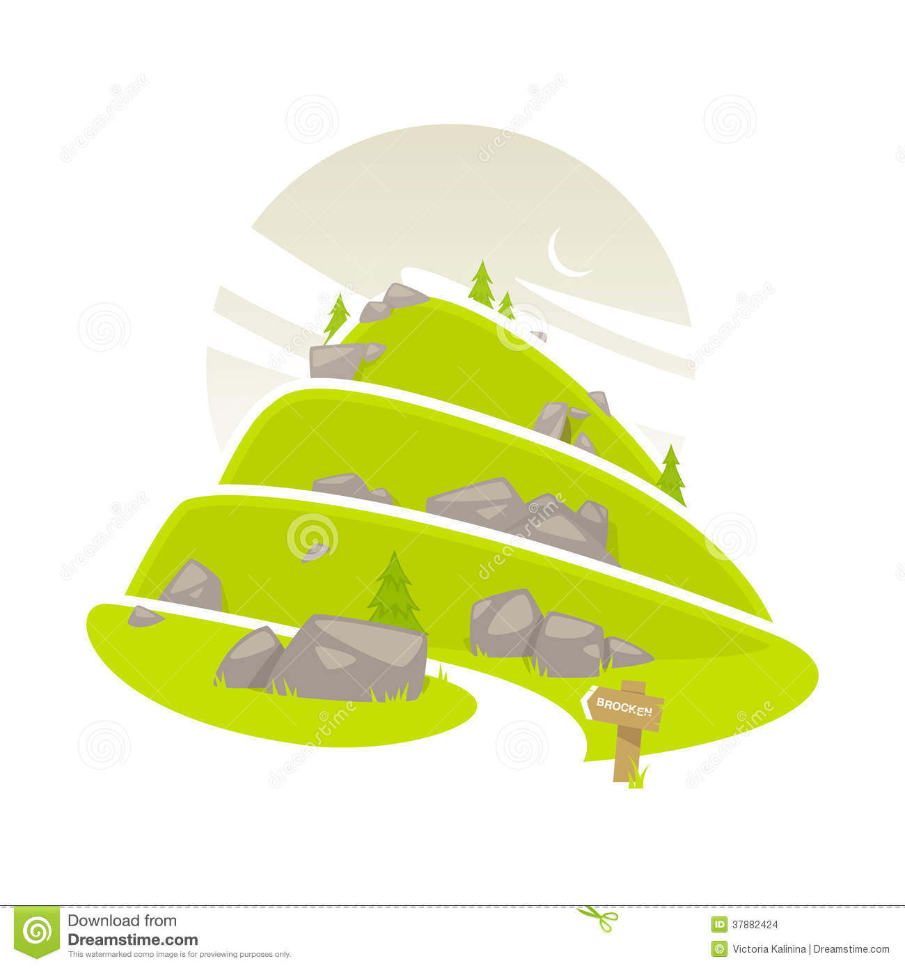 Mountain path clipart.