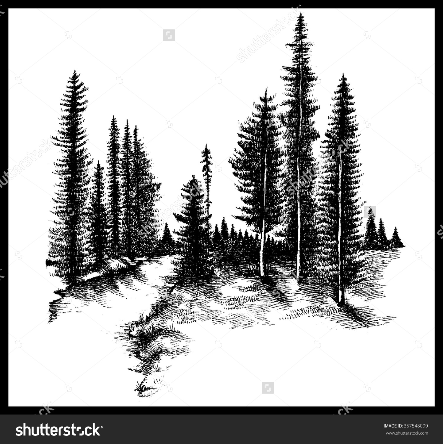 Pine tree mountain clipart black and white.