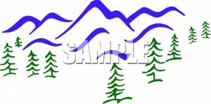 Trees And Mountain Scene Clipart.