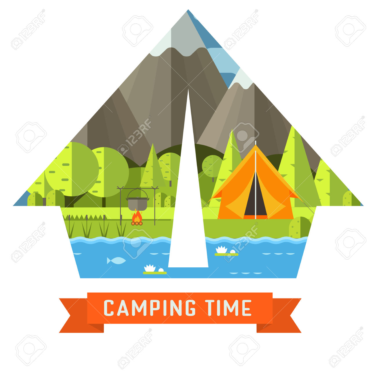 Mountain Lake Campsite Place In Tourist Tent Shape. Forest Hiking.