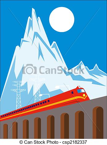 Stock Illustrations of Train on viaduct on high mountain.