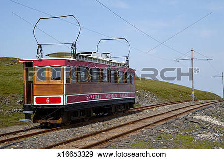 Stock Photograph of Snaefell Mountain Railway tram returns to.