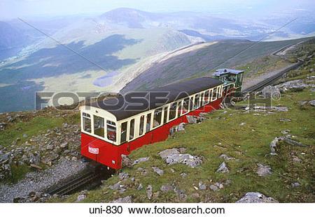 Stock Photography of View of Snowdon Mountain Railway Snowdonia.