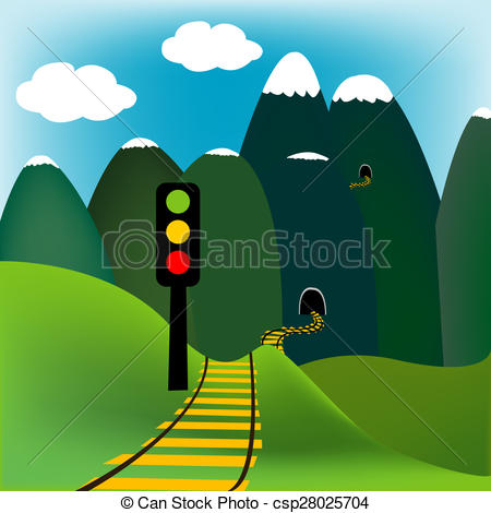 Stock Illustration of Mountain landscape with railway and traffic.