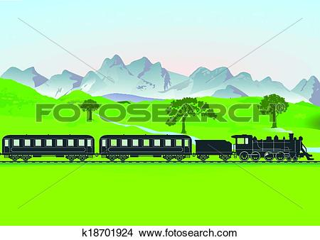 Clipart of Steam train in front of mountain me k18701924.