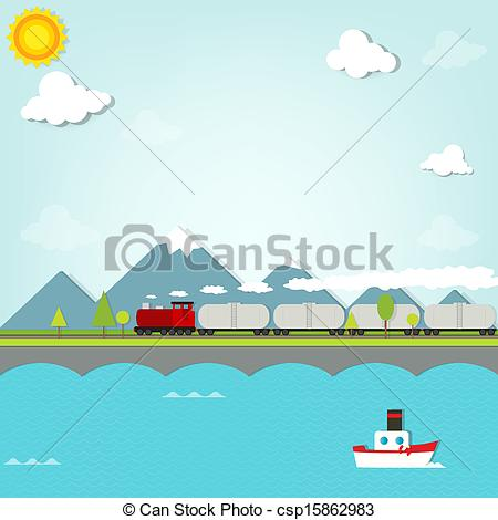 Vector of train on background of mountains csp15862983.
