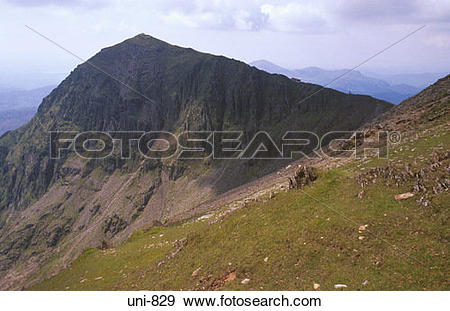 Stock Photograph of View of Mountain Railway and Snowdon Snowdonia.