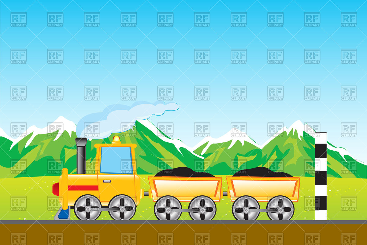 Yellow freight train goes to mountain Vector Image #93876.
