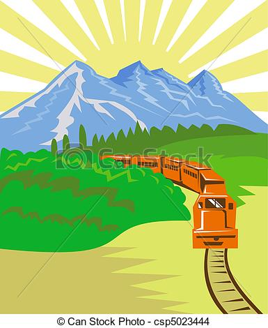 Drawing of diesel train travelling with mountains.
