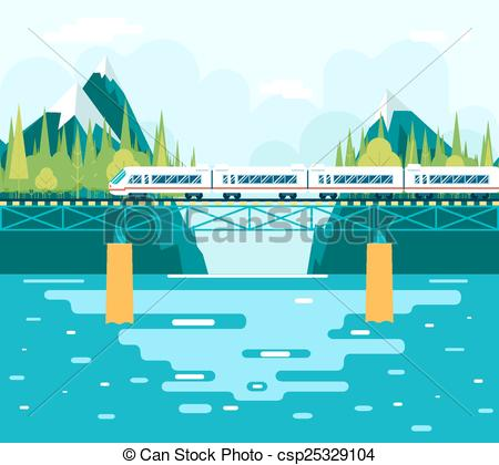 Vector Clipart of Wagons on Bridge over River Tourism and Journey.