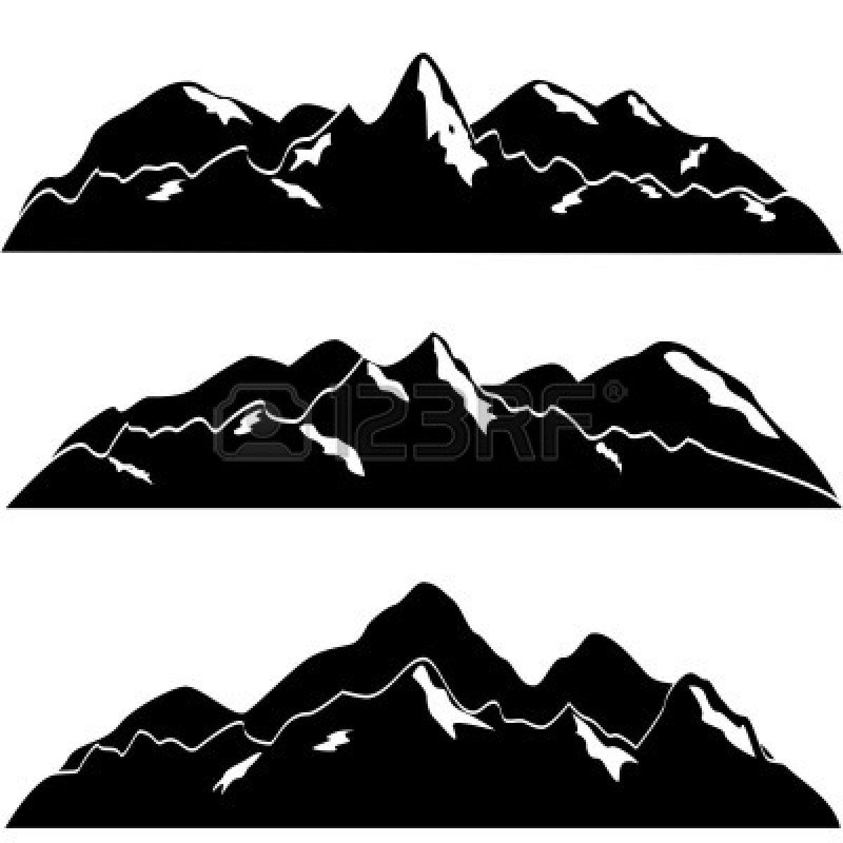 Mountain Range Silhouette Clip Art.