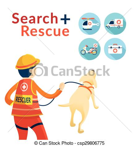 Vectors Illustration of Rescuer with Dog, Search and Rescue Icons.