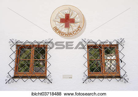 """Pictures of """"Windows and the logo of the Bergwacht Mountain Rescue."""