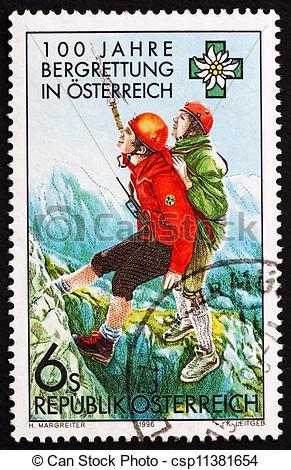 Stock Images of Postage stamp Austria 1996 Austrian Mountain.