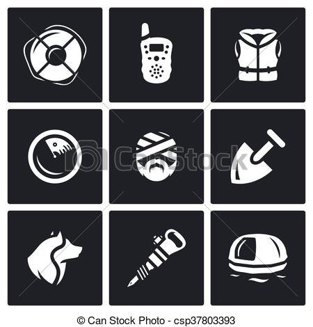 EPS Vectors of Vector Set of Search and Rescue service Icons.