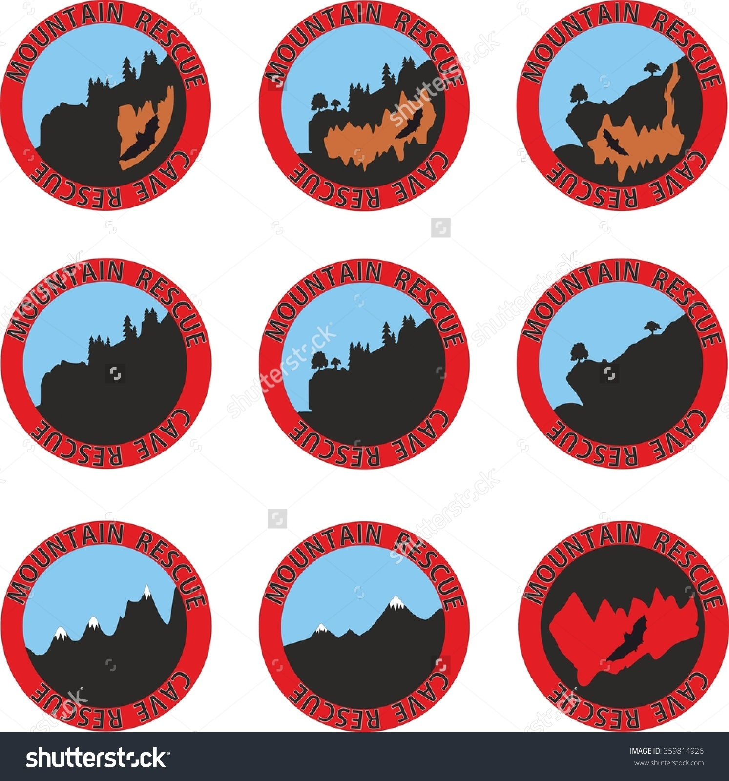 Emblem Of A Mountain Rescue Service Stock Vector Illustration.