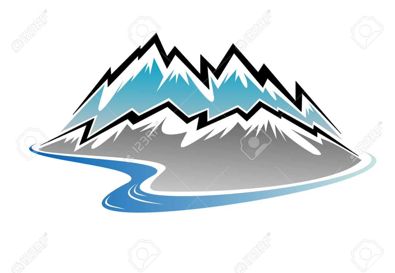 Snow Covered Mountains, Peaks And River In Cartoon Style Royalty.