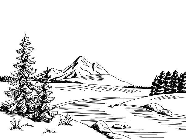Cartoon Of The Black White Mountain Landscape Clip Art, Vector.