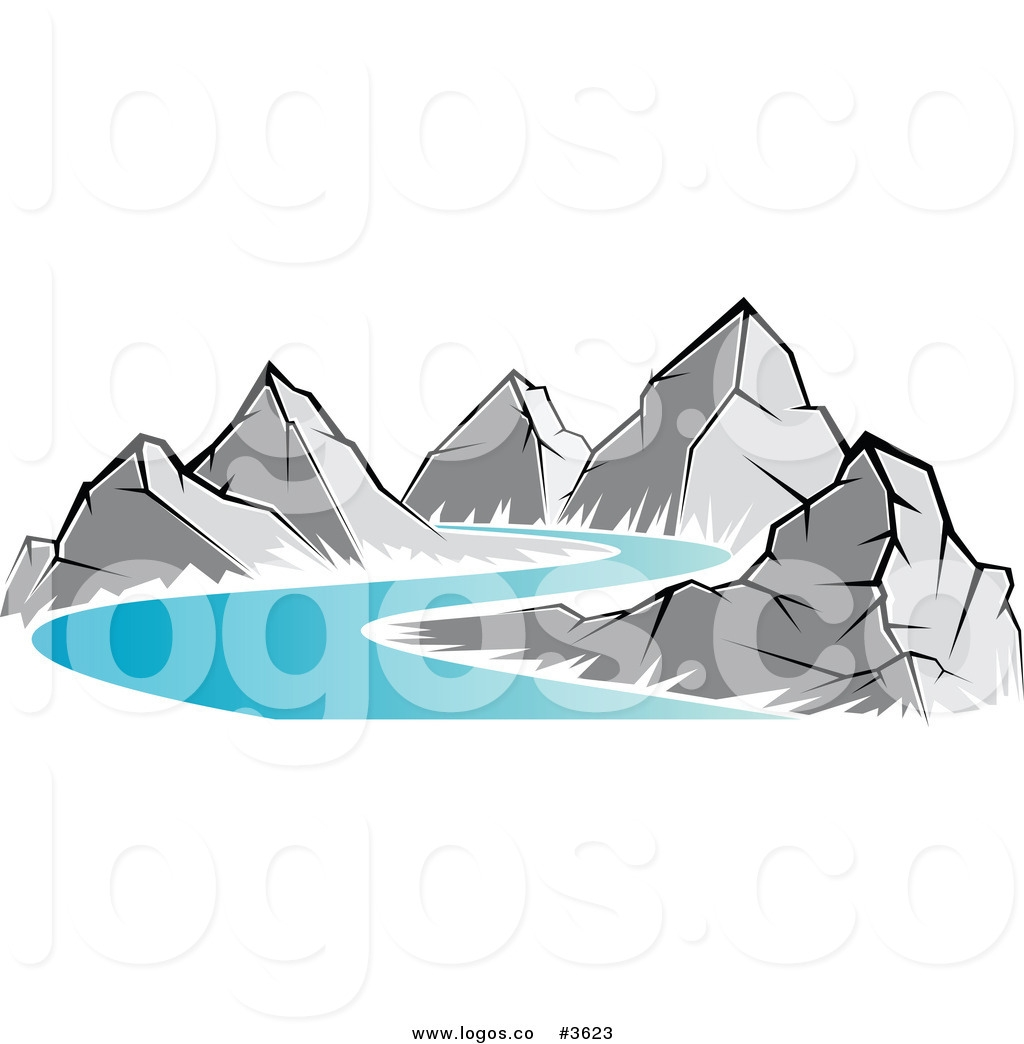 Mountain River Black And White Clipart.