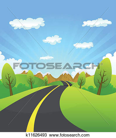 Clipart of Mountain Road k8453825.