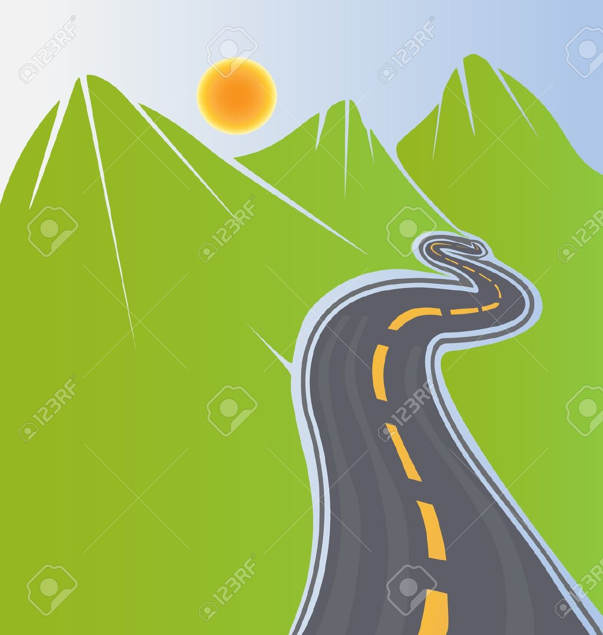 Mountain Road Clip Art.