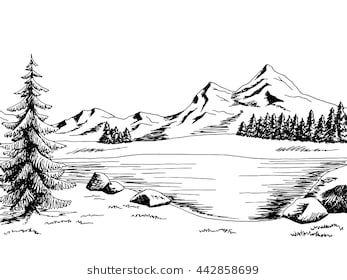 Mountain lake graphic art black white landscape illustration.