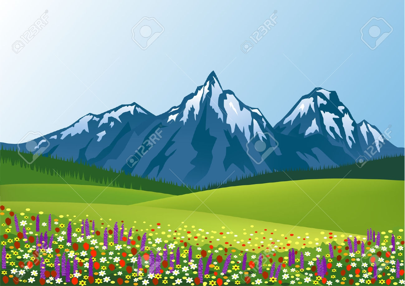 Mountain scenery clipart.