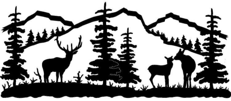 Mountain Scene Black And White Clipart#2031486.