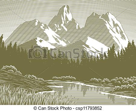 Clipart Vector of Woodcut Mountain Lake Scene.