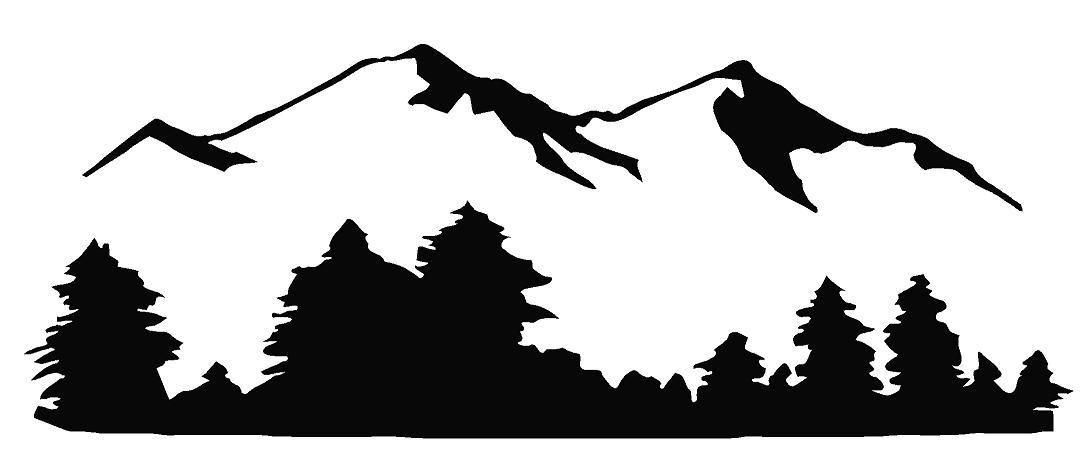 Mountain Scene Black And White Clipart#2031484.