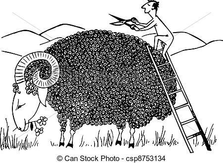 EPS Vector of Sheep shearing.
