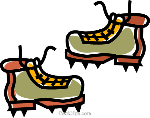 mountain boots Royalty Free Vector Clip Art illustration.
