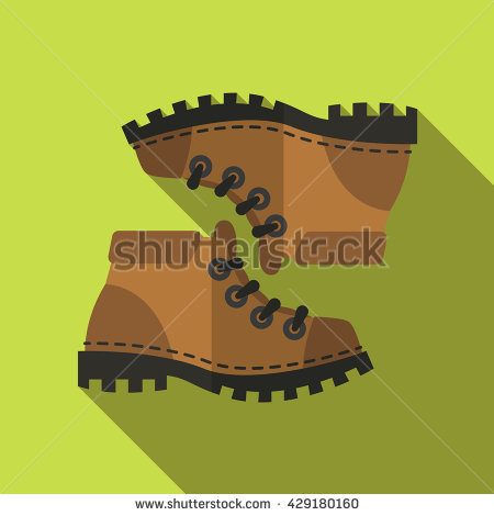 Flat Icon Camping Equipment Set Illustration Of Mountain Shoes.