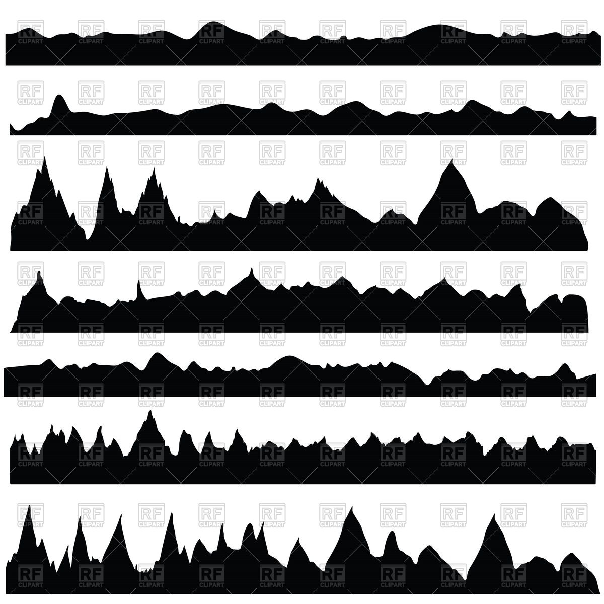 Mountain silhouettes Stock Vector Image.