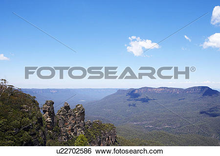 Stock Images of Three Sisters in Blue Mountain, Australia.