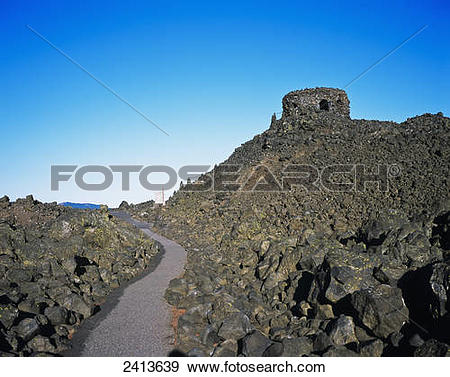 Stock Photograph of Lava fields at McKenzie Pass; Sisters, Oregon.